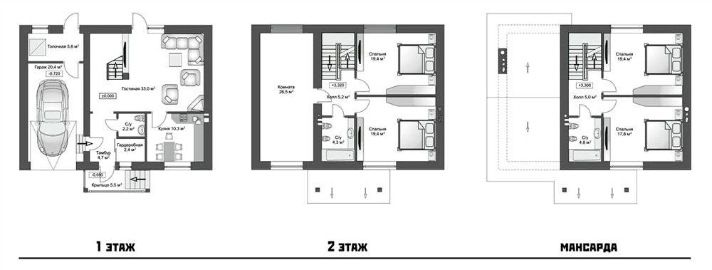 Таунхаус площадью 210 м²