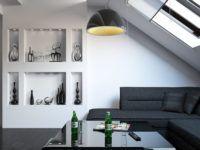 В мансарде несложно сделать полноценную жилую комнату. Размещение мебели корректируют с учётом реальной высоты потолков. Для затемнения окон применяют специальные жалюзи с направляющими, удерживающими полотно