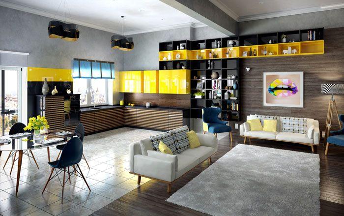 Минимализм делает специализированную кухонную мебель незаметной в оформлении общей комнаты