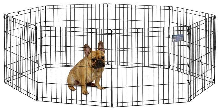 Для временного содержания собаки можно использовать складные вольеры, это особенно актуально, если у вас выводок щенков
