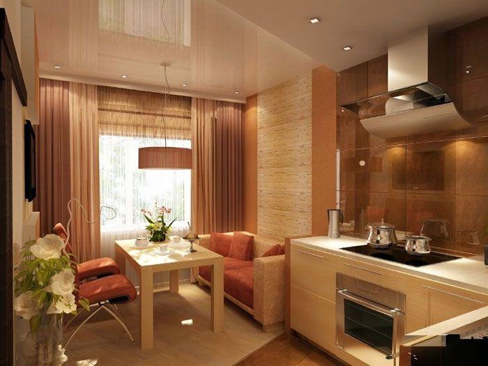 Фото дизайна угловой кухни с мягкой мебелью в комнате 10 м²