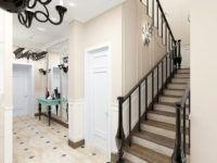 Дизайн лестницы повторяют в других элементах декора