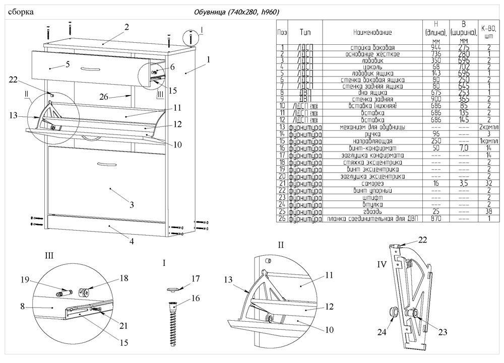 Подробный чертёж и схема комода для обуви с подробным перечнем материалом