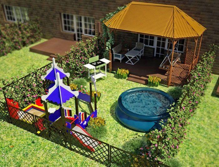 На небольшой площади получится разместить детскую площадку, веранду с навесом, бассейн. Это ещё один наглядный пример преимуществ программного моделирования