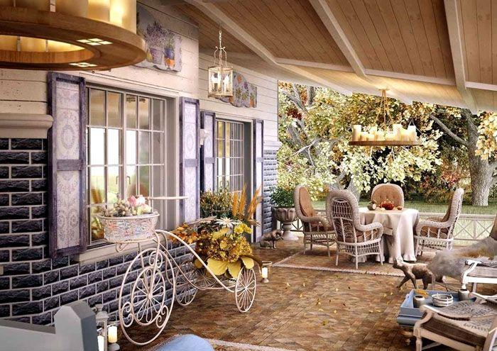 На террасе летом можно поставить стол, вам понравится обедать на свежем воздухе