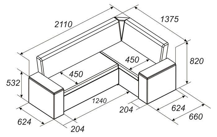 Стандартные габариты диванчика для небольших помещений