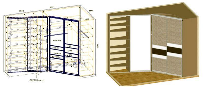В комплекте чертежей углового шкафа-купе для спальни отмечают точные размеры отдельных элементов, мебели в целом