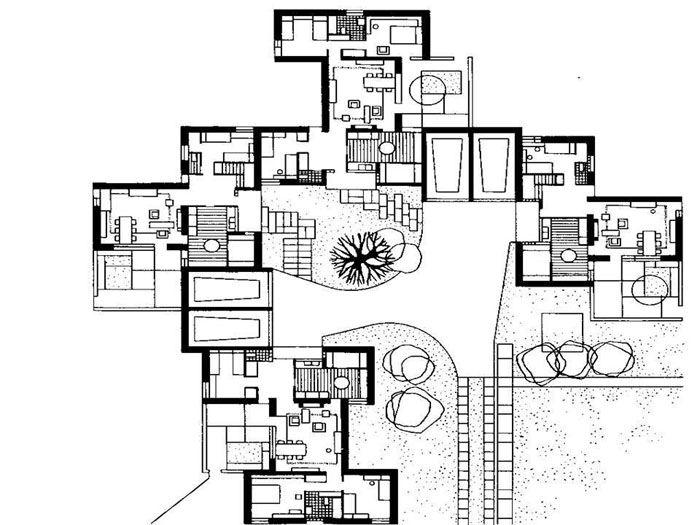 Ковровый вид застройки – это объединение блокированных квартир (таунхаусов) с индивидуальными внутренними двориками