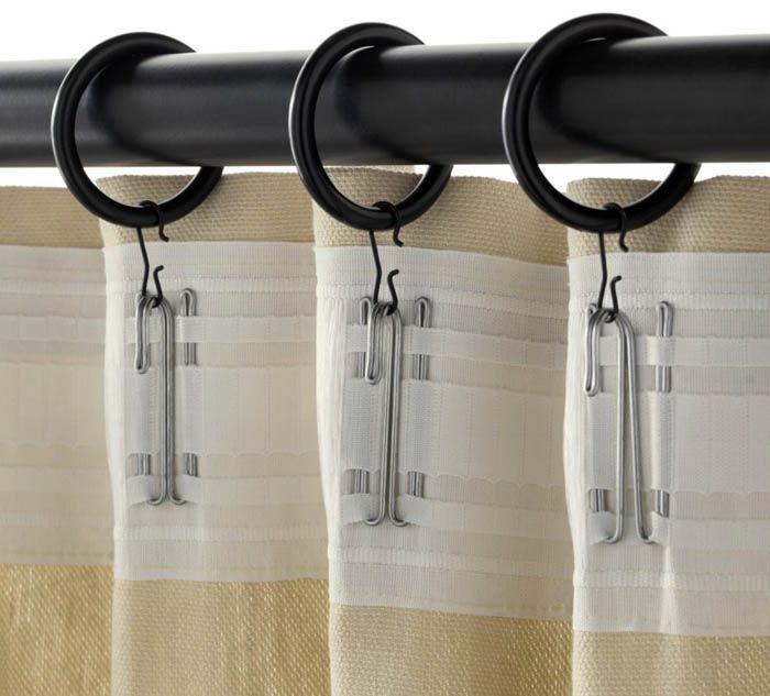 На гардинах предусмотрены специальные крючки для колец