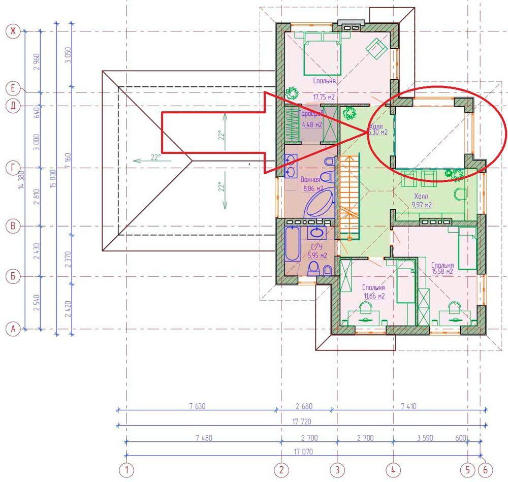 На схеме второго этажа отмечена организация верхнего света