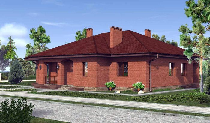 Для посадки крупного одноэтажного дома необходима большая площадь участка