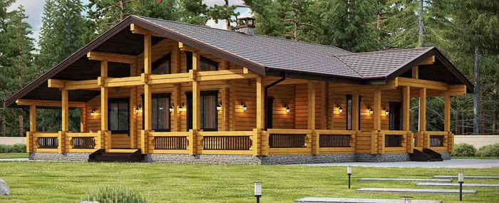 Проект одноэтажного дома из бревна для большой семьи