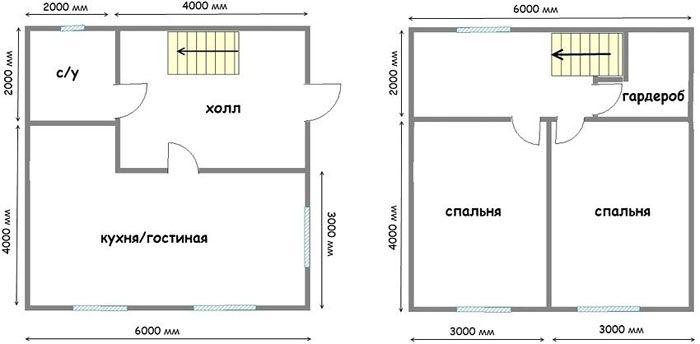 Планировка двухэтажного дома 6×6 из пеноблоков
