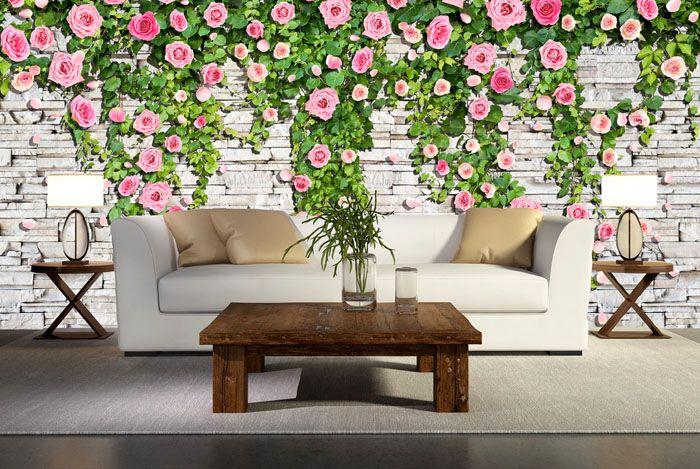 Все стены с таким покрытием будут смотреться вычурно, а одна стена с подходящей мебелью — эффектно