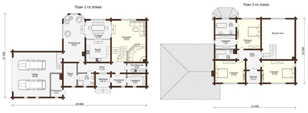 Планы этажей. Вынос за пределы жилого контура упрощает изоляцию технических помещений. Отдельный вход в котельную создан в соответствии с действующими нормами
