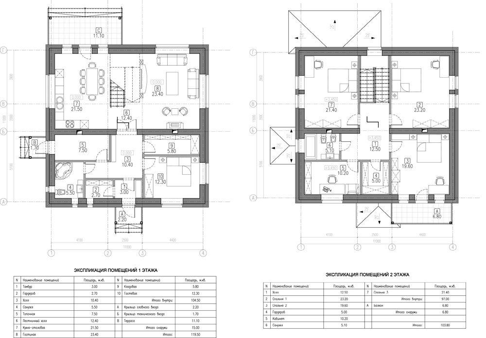 Планы первого и второго этажа с расстановкой мебели и площадью отдельных комнат