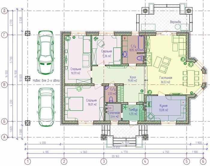 Проект одноэтажного дома из пеноблоков (134 м²)