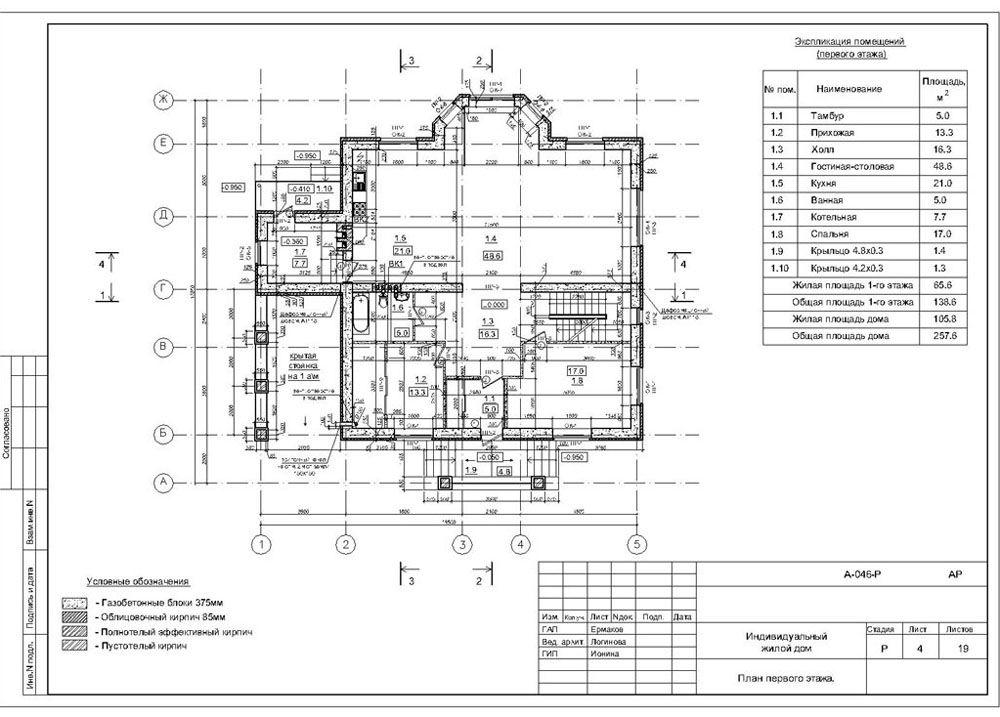 План этажа, проект индивидуального жилого дома из пеноблоков