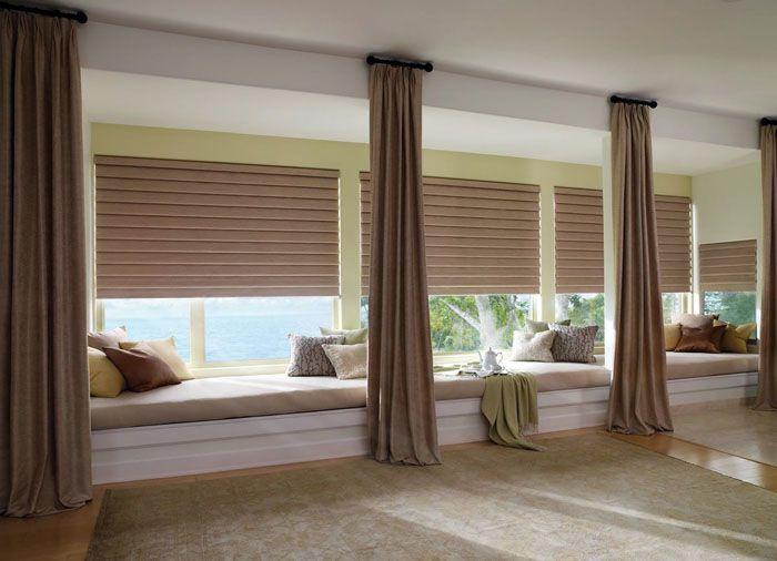 Для жилых помещений дизайнеры рекомендуют комбинировать горизонтальные устройства с традиционными шторами