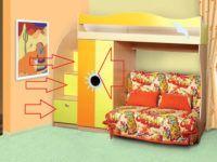 Платяной шкаф и полые ступени с выдвижными ящиками