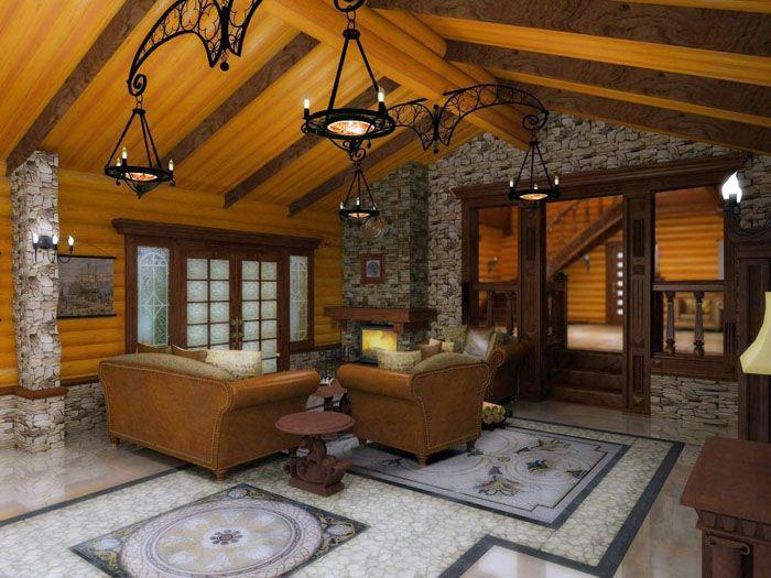 В интерьере дома из оцилиндрованного бревна уместно применение натурального камня с грубой отделкой