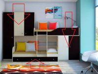 Такой комплект мебели можно сделать по заказу. В этом случае размеры и оснащённость кровати двухъярусной с диваном определяются оригинальным техническим заданием