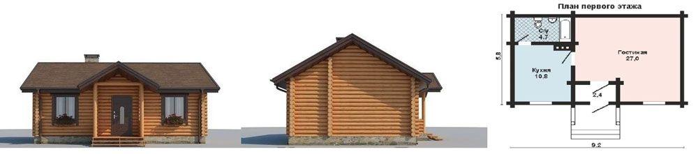 Проект недорогого летнего дома из бревна