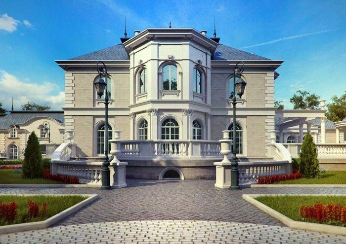 Элегантная отделка дома из серого кирпича гармонирует с цветом подъездных и пешеходных дорожек