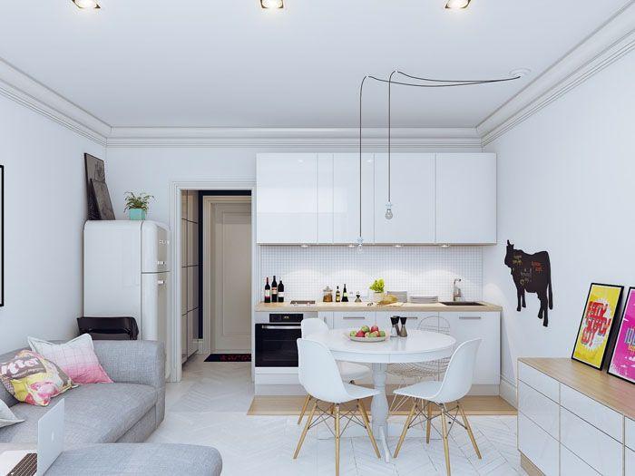 Фото дизайна кухни с угловым диваномв скандинавском стиле – простота форм, экологичность, чистота, минимализм