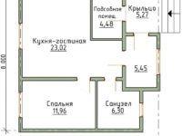 Проект одноэтажного дома 8×8 из пеноблоков