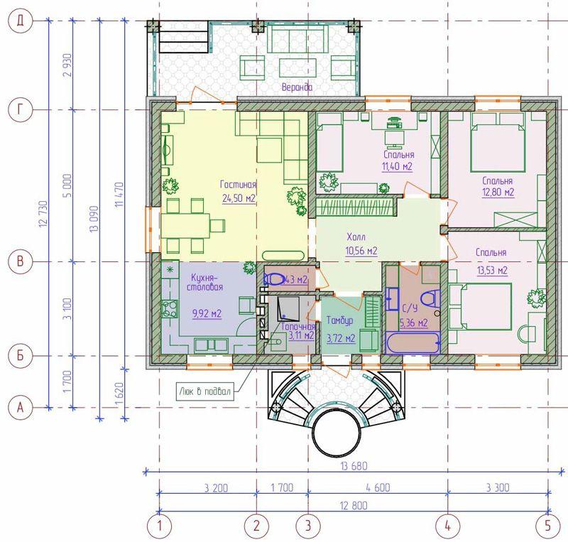Топочная размещена на первом этаже. Во входной зоне сделан тамбур. Площади хватило для трёх спален