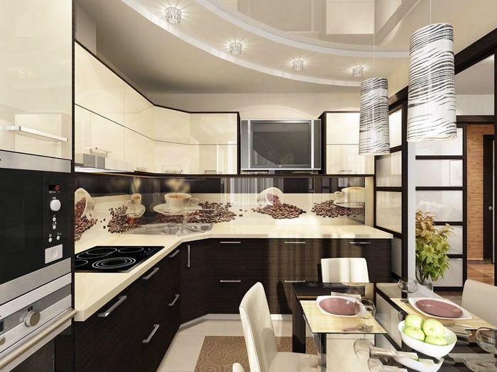 Универсальное решение – кухня в форме буквы Г. Обеспечивается рациональное использование имеющегося пространства