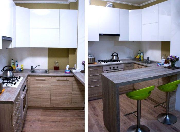 Для размещения кухни в форме буквы П необходима достаточная площадь. Типовой дополнительный компонент – барная стойка