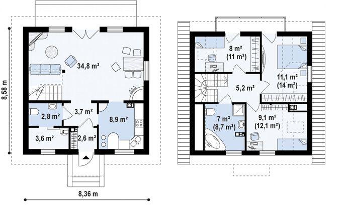 Планировка комнат проекта дома из кирпича с мансардой