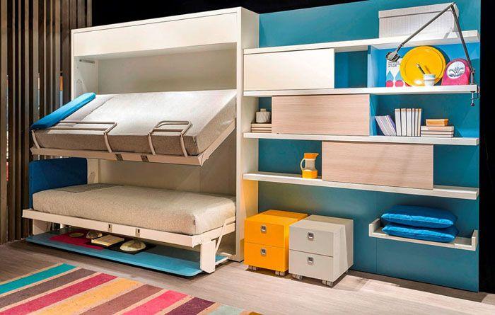 Детская кровать двухъярусная с диваном-трансформером в комплекте с навесными полками