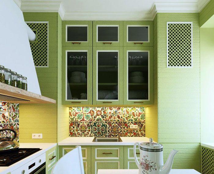 Комбинированное применение разных видов керамики для отделки стен и фартука