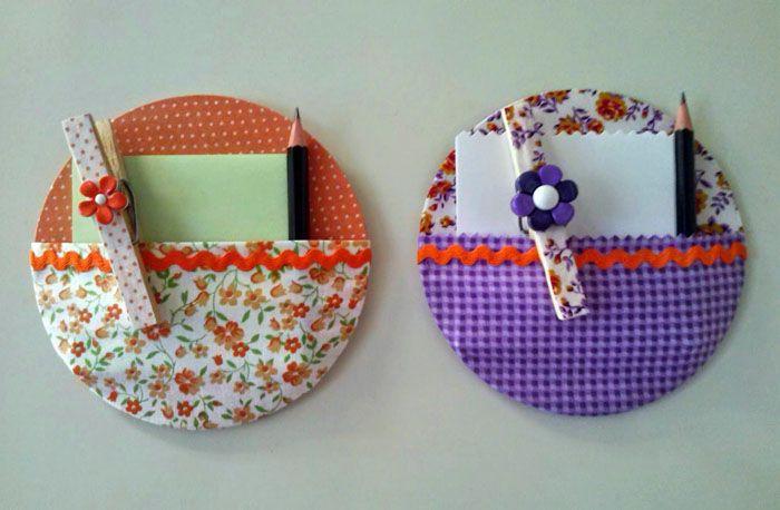 Мини-органайзер: обшиваем тканью диск и оборудуем удобный кармашек