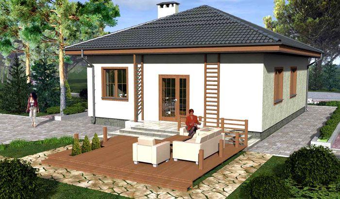 Проект компактного дома из пеноблоков для узкого земельного участка
