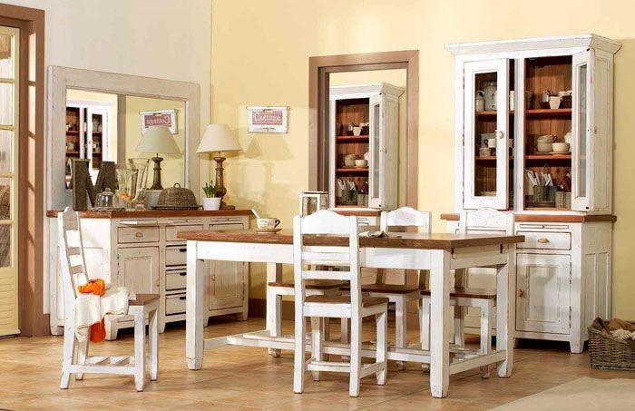 Обеденный стол и буфет в стиле прованс