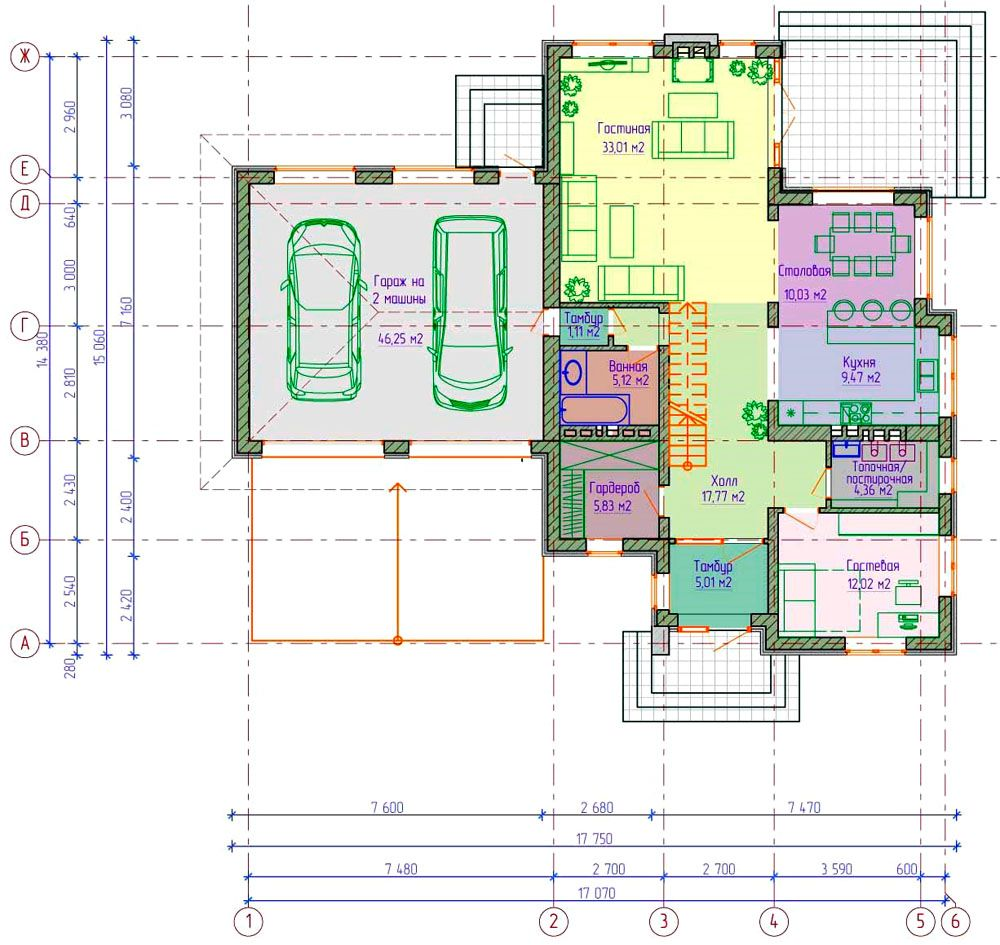 Чертёж демонстрирует, как такой вариант упрощает изоляцию технических помещений от жилой зоны