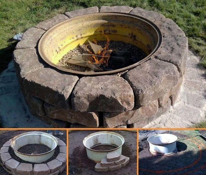 Потребуется запастись кирпичами или камнями для отделки, автомобильным диском (штампованным!) и лопатой