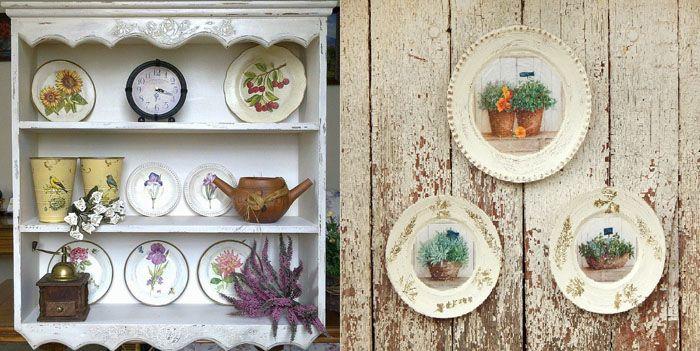 Настенные тарелки для кухни в стиле прованс размещают на полках либо закрепляют на ровной вертикальной поверхности