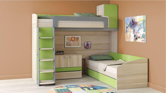 В таком оснащении созданы равноценные спальные места для двух детей