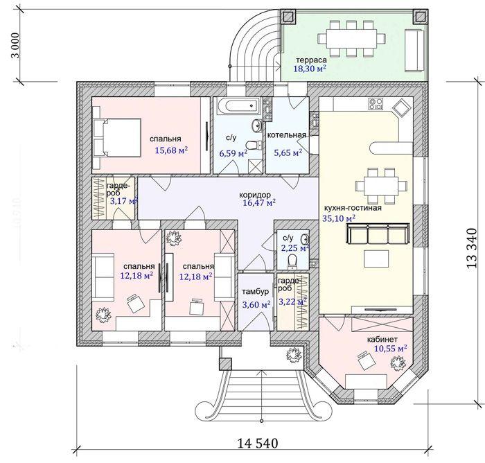 Планы этажей дополняют предложениями по расстановке мебели, крупных функциональных и декоративных элементов интерьера