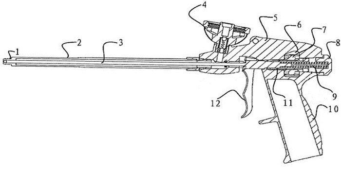 Пистолет для монтажной пены в разрезе