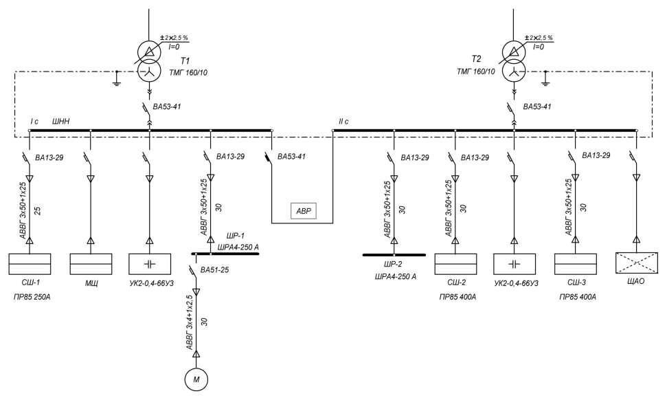 Исполнительная схема 2-трансформаторной подстанции