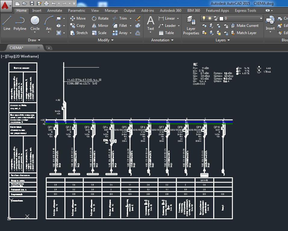 Работа по составлению однолинейной схемы распределительного щита в программе «AutoCAD Electrician»