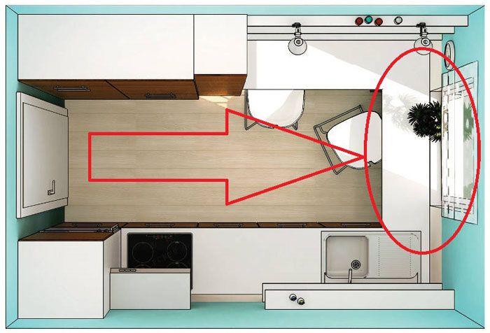 Типовое дизайнерское решение для подобных помещений. Устранение широкого подоконника и монтаж на освободившемся месте полнофункциональной столешницы