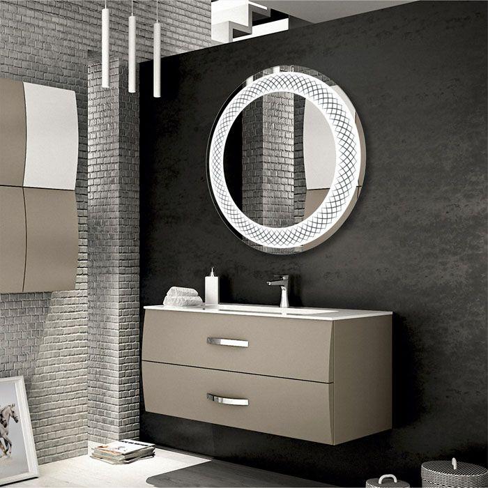 Круглое зеркало с ЛЕД-подсветкой для ваннойможет иметь интересный декор благодаря рамке