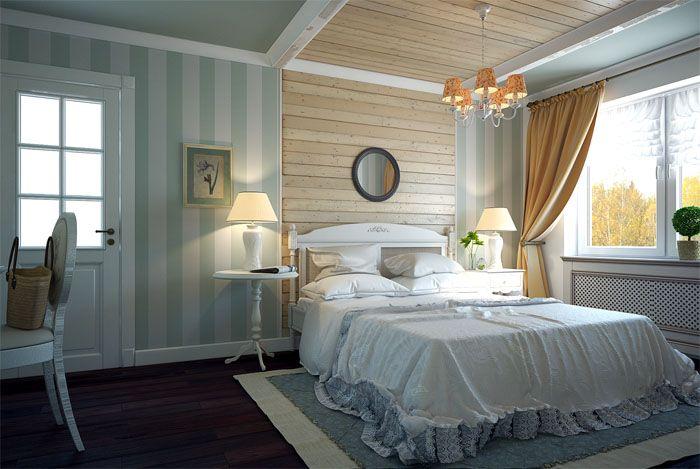Упрощённый вариант прованса, потолок вполне может продолжить натуральную стену